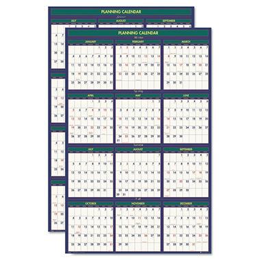 House of Doolittle - 4 Seasons Reversible Business/Academic Wall Calendar - 24 x 37 - 2013-2014; 2014