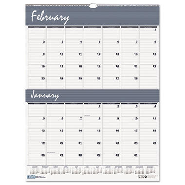 House of Doolittle Two-Months-per-Page Wirebound Wall Calendar, 20 x 26 -  2015