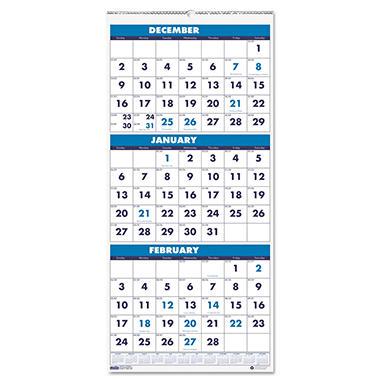 House of Doolittle Three-Month Format Wall Calendar, 8 x 17 -  2014-2016