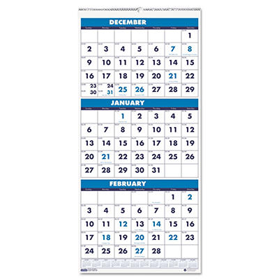 House of Doolittle Three-Month Format Wall Calendar, 8 x 17 -  2014-2016
