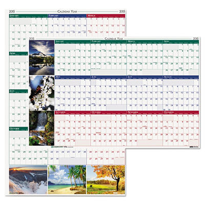 House of Doolittle Earthscapes Nature Scene Reversible/Erasable Yearly Wall Calendar, 18 x 24 -  2015