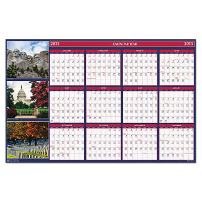 House of Doolittle US Monuments Reversible/Erasable Yearly Wall Calendar, 24 x 37 -  2015