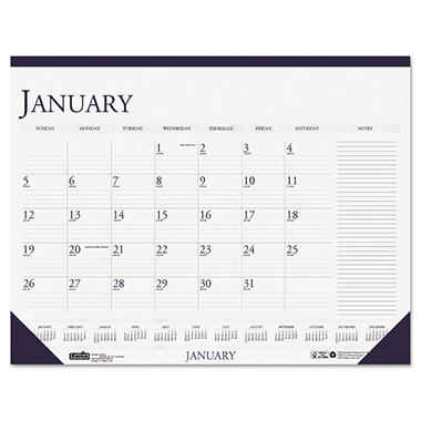 House of Doolittle - Two-Color Monthly Desk Pad Calendar w/Large Notes Section - 22 x 17 - 2014