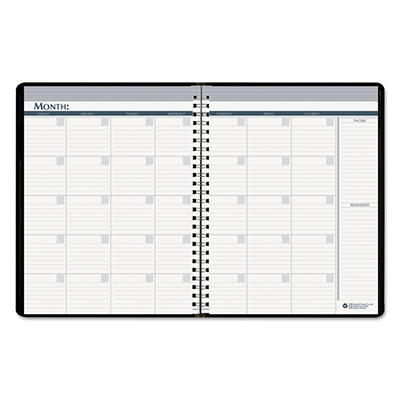House of Doolittle Nondated Monthly Planner, 8 1/2 x 11 -  Black Cover