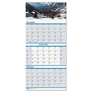 House of Doolittle - Scenic Landscapes Three-Months/Page Wall Calendar - 12-1/4 x 26 - 2013-2015