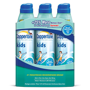 Coppertone Kids Continuous Spray SPF 50 Sunscreen - 7.5 fl. oz. - 3 ct.