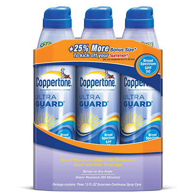Coppertone Ultra Guard Continuous Spray SPF 50 Sunscreen - 7.5 fl. oz. - 3 ct.