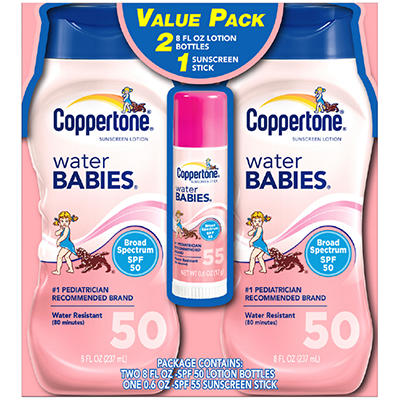 Coppertone Water BABIES Sunscreen Lotion SPF 50 - 8 oz - 2 pk. + .6 oz. Stick