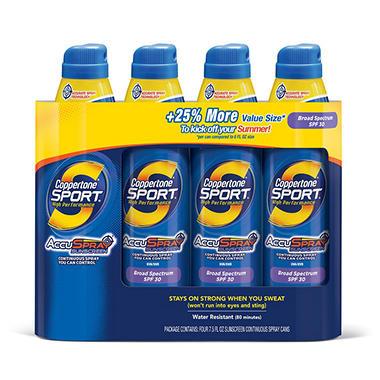 Coppertone 30 SPF Sport Continuous Spray (7.5 oz., 4 pk.)