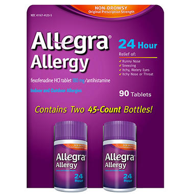 Allegra 24 Hour Allergy Relief 180mg - 90 ct.
