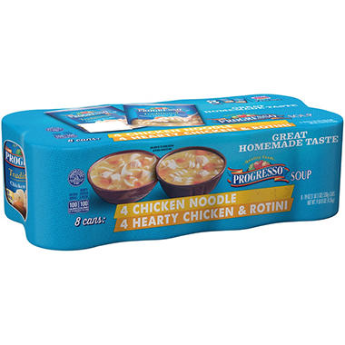 Progresso Chicken Noodle/Hearty Chicken & Rotini Soup Variety Pack (19 oz., 8 pk.)