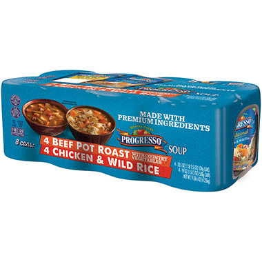 Progresso Beef Pot Roast/Chicken & Wild Rice Soup Variety Pack (150 oz., 8 ct.)