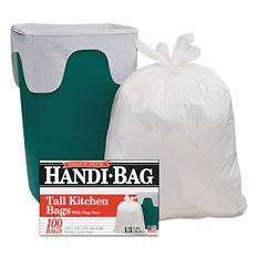 Handi-Bag - Super Value Pack Trash Bags, 13gal, .6mil, 23 1/2 x 29 3/8, White -  100/Box