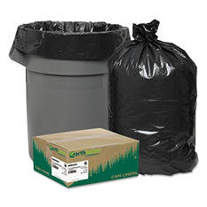 Earthsense Commercial - Recycled Can Liners, 55-60gal, 2mil, 38 x 58, Black -  100/Carton