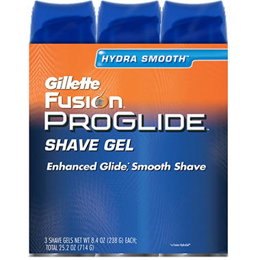 Gillette Fusion ProGlide Shave Gel -  3 ct. - 8.4 oz. ea.