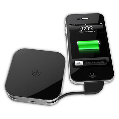 Duracell Powermat GoPower Day Trip 1850 mAh Portable Charger / Pocket Sized External Battery Power Bank for iPhone 4/4S/3G/3GS and other Smartphones - Android, Samsung, HTC, Nokia, Blackberry, LG, Motorola and more.
