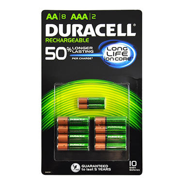 Duracell Rechargeable Batteries Assortment Pack AA 8 Count, AAA 2 Count