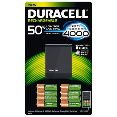 Duracell Ion Speed 4000 Battery Charger w/ Rechargeable AA and AAA Batteries