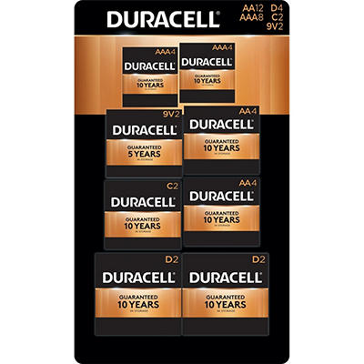 Duracell Coppertop Alkaline Batteries Assortment Pack AA 4 Count, AAA 4 Count, C 2 Count, D 4 Count, 9V 2 Count