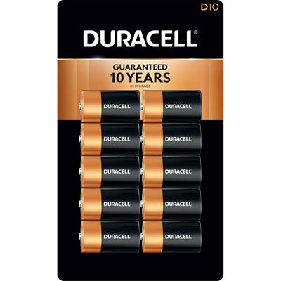 Duracell Coppertop Alkaline Batteries D - 10 pk