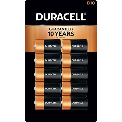 Duracell Coppertop Alkaline Batteries D - 10 pk