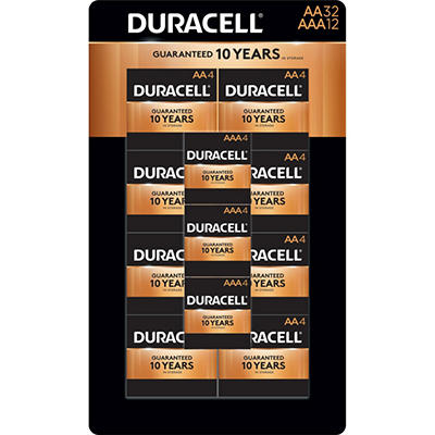 Duracell Coppertop Alkaline Batteries Assortment Pack AA 32 Count, AAA 12 Count