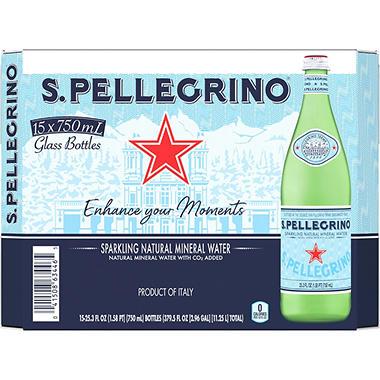 S. Pellegrino Sparkling Natural Mineral Water - 15/750 mL.