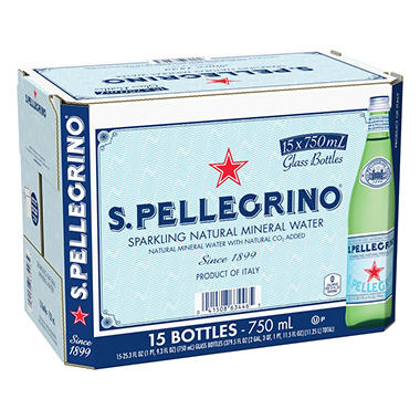 S. Pellegrino Sparkling Natural Mineral Water - 15/750 mL.