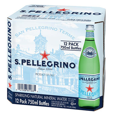S.Pellegrino Sparkling Natural Mineral Water (750 ml bottles, 12 pk.)