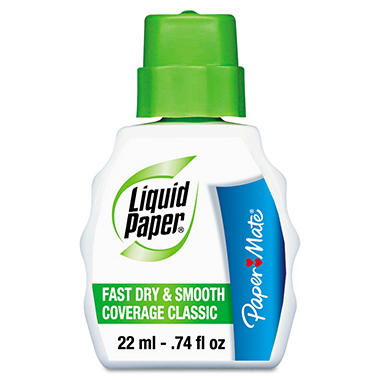 Paper Mate Liquid Paper - Fast Dry Classic Correction Fluid, 22 ml Bottle - \White