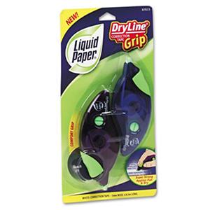 "Paper Mate Liquid Paper - DryLine Grip Correction Tape, 1/5"" x 335"", Blue/Purple Dispensers - 2 Pack"