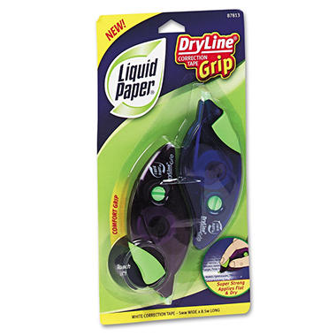 "Paper Mate Liquid Paper - DryLine Grip Correction Tape, 1/5"" x 335"", Blue/Purple Dispensers - 2 Pack"