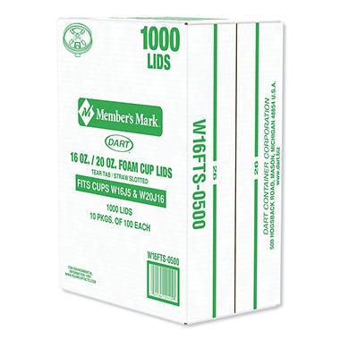 Dart - Foam Cup Lids - 1000/16oz-20oz