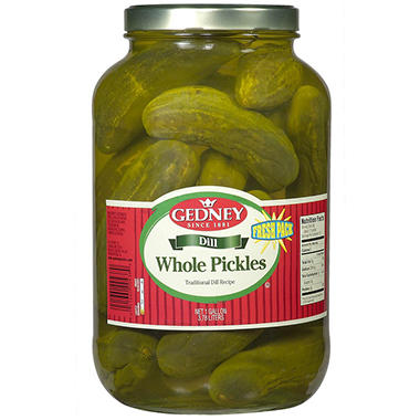 Gedney Fresh Pack Whole Dill Pickles - One Gallon - 128 oz.