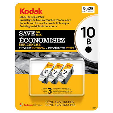 Kodak 10 Series Ink Cartridge, Black (3 pk., Page Yield 425)