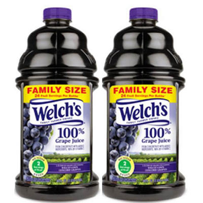 Welch's 100% Purple Grape Juice (96 oz. bottles, 2 ct.)