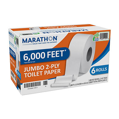 Marathon - Bath Tissue, 2-Ply, Jumbo Roll, 1,000 Ft. Rolls -6 Rolls