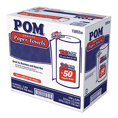 POM - Paper Towels, 2-Ply, 100 Sheets - 30 Rolls