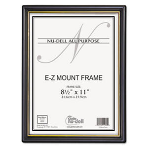 Nu-Dell EZ Mount Document Frames, Plastic, 8-1/2 x 11, Black, 18 Pack