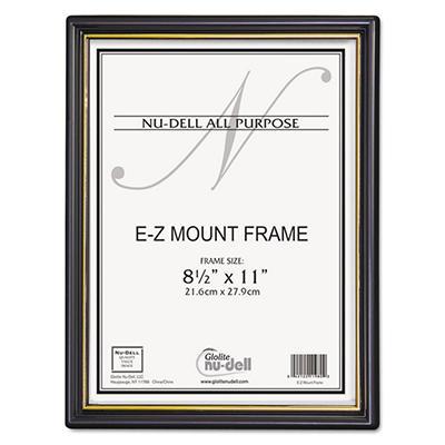 Nu-Dell EZ Mount Document Frames, Plastic, 8-1/2 x 11, Black, 18 Pack