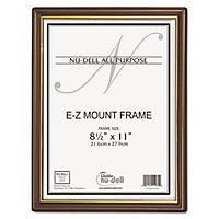 Nu-Dell - EZ Mount Document Frame with Trim Accent, Plastic, 8-1/2 x 11 -  Walnut/Gold
