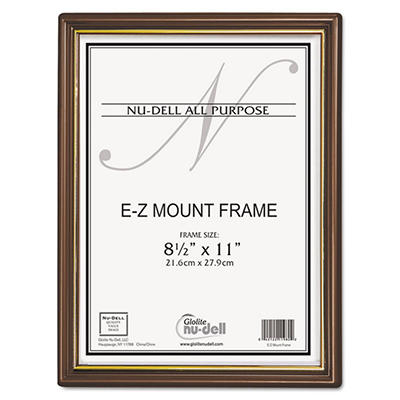 Nu-Dell - EZ Mount Document Frame with Trim Accent, Plastic, 8-1/2 x 11 -  Walnut/Gold