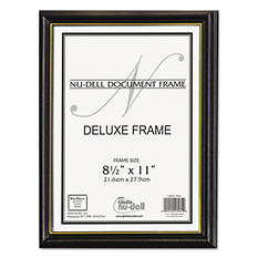 NuDell Value Pack Deluxe Wood Document Frames, 8.5 x 11, Black/Gold (18 ct.)