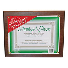 Nu-Dell Award-A-Plaque Document Holder, Acrylic/Plastic, 10-1/2 x 13, Walnut