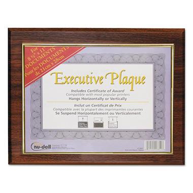 Nu-Dell Executive Plaque, Plastic, 13 x 10-1/2, Walnut