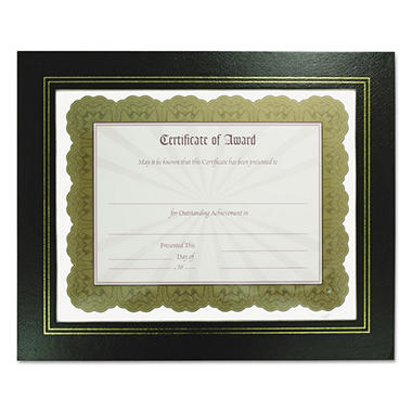 Nu-Dell Leatherette Document Frame, 8-1/2 x 11, Black, 2 Pack