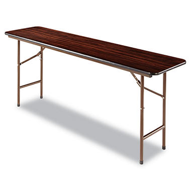 Alera - Melamine Folding Table, 6 x 1.5 ft - Walnut