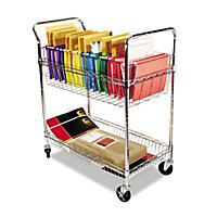 Alera 2-Shelf Wire Mail Cart, Chrome