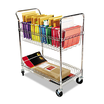 "Alera - Wire Mail Cart, 2-Shelf, 34-1/4""W x 21-1/2""D x 39-1/2""H - Chrome"