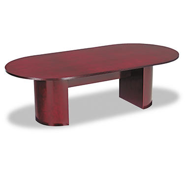 Alera Verona Series Racetrack Conference Table Top with Modesty Panel - Mahogany